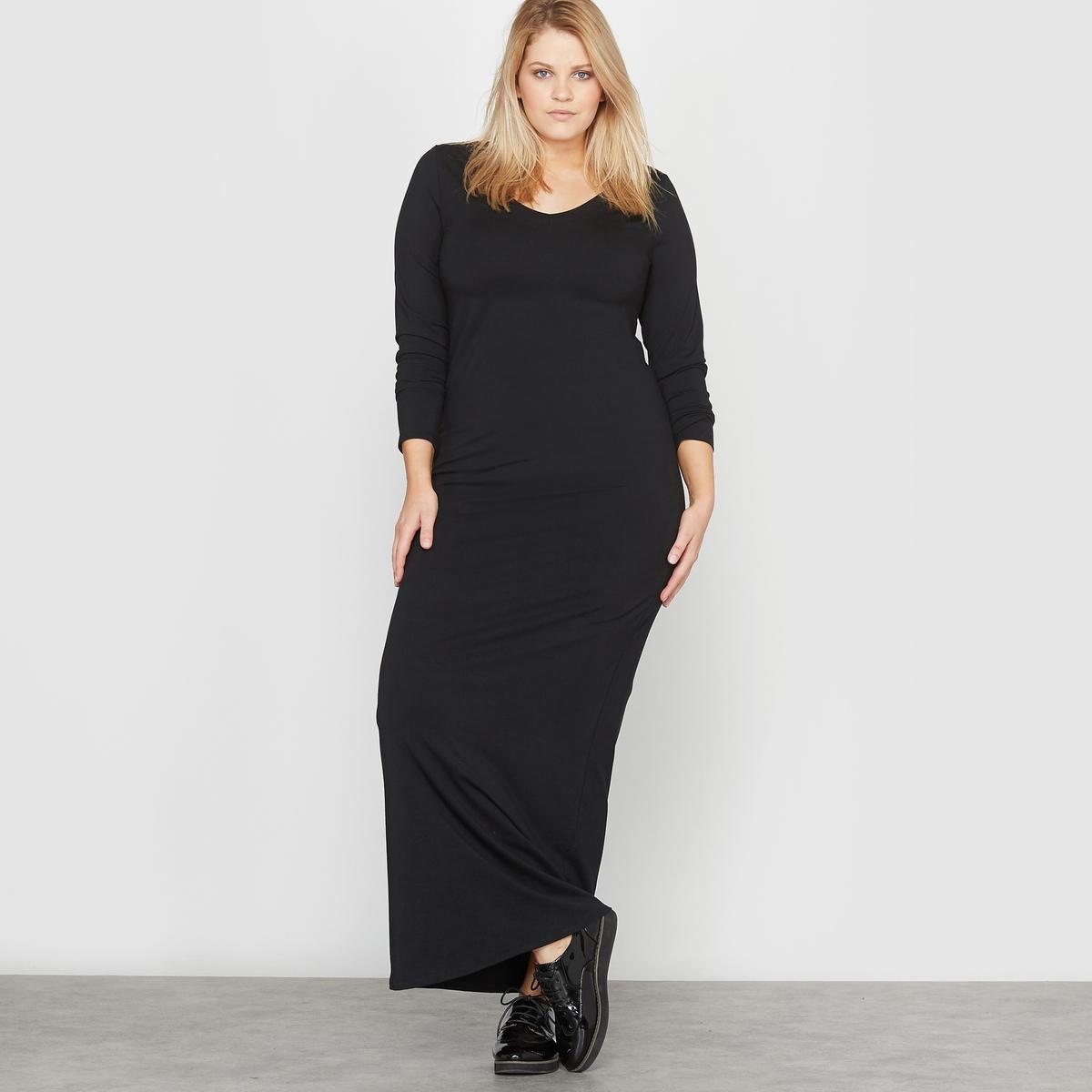 Платье длинное трикотажное с длинными рукавамиОчень женственное длинное платье из мягкого и струящегося трикотажа .Это длинное платье можно носить по любому случаю. Очаровательный V-образный вырез спереди и сзади.Детали  •  Форма : МАКСИ •  Удлиненная модель  •  Длинные рукава    •   V-образный вырез Состав и уход  •  48% хлопка, 4% эластана, 48% модала •  Стирать при 30° на деликатном режиме  •  Сухая чистка и отбеливание запрещены   •  Не использовать барабанную сушку  •  Низкая температура глажки Товар из коллекции больших размеров<br><br>Цвет: черный