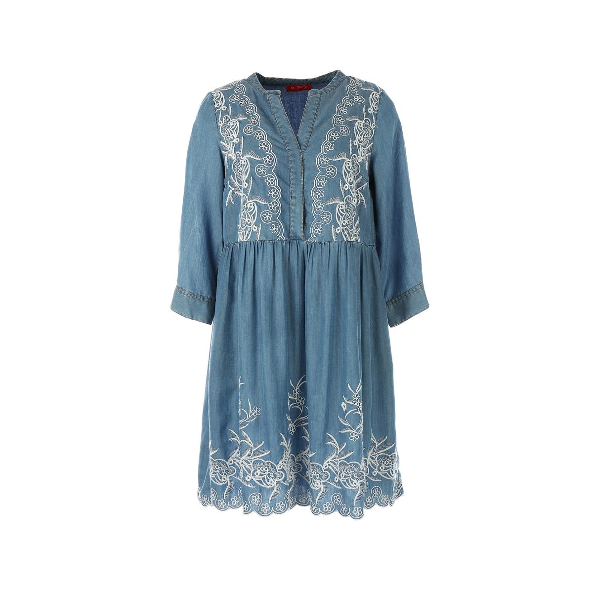Платье короткое с длинными рукавамиДетали •  Форма : расклешенная •  короткое  •  Длинные рукава     •  Тунисский вырезСостав и уход •  100% лиоцелл  •  Следуйте советам по уходу, указанным на этикетке<br><br>Цвет: синий<br>Размер: S