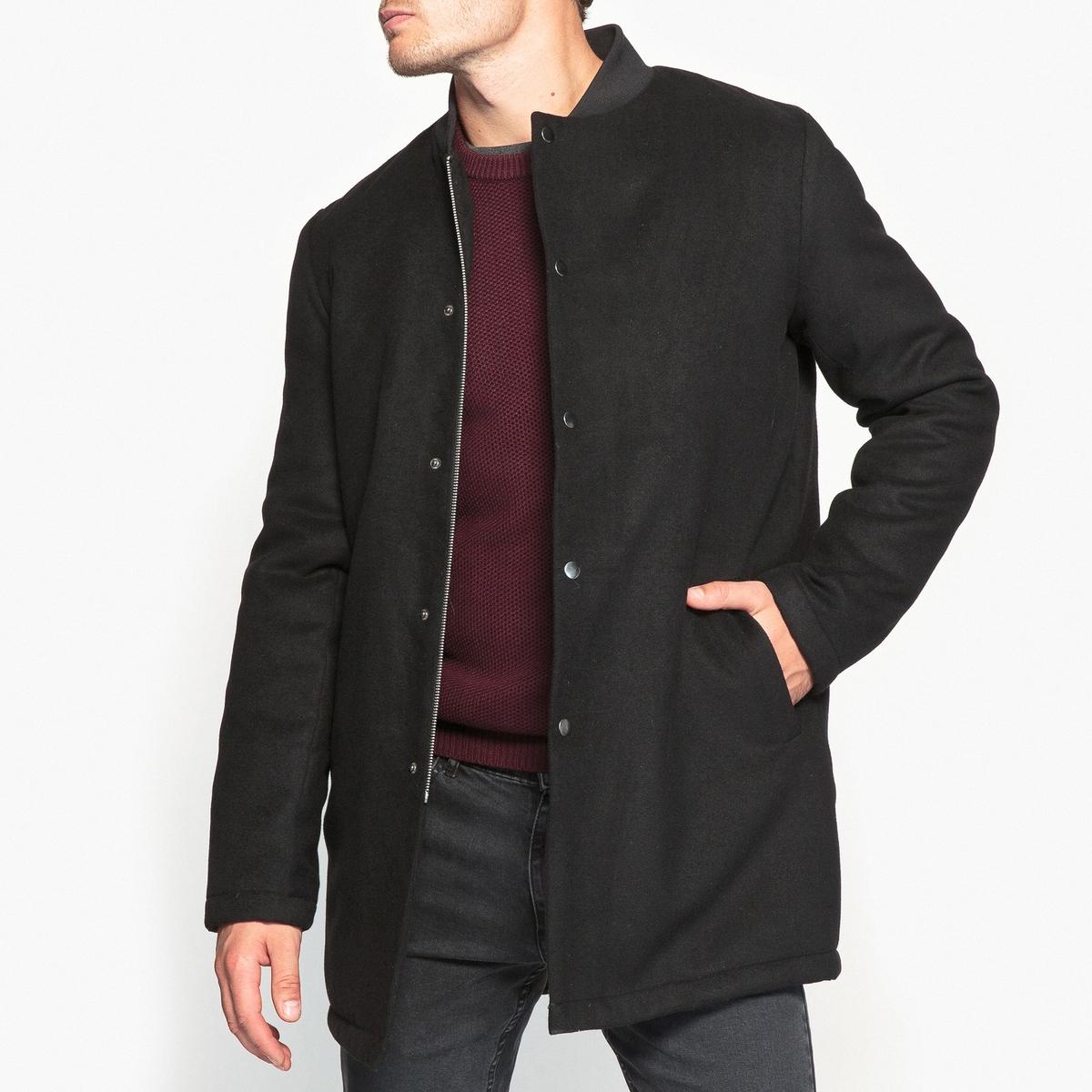 Пальто средней длины с воротником тедди