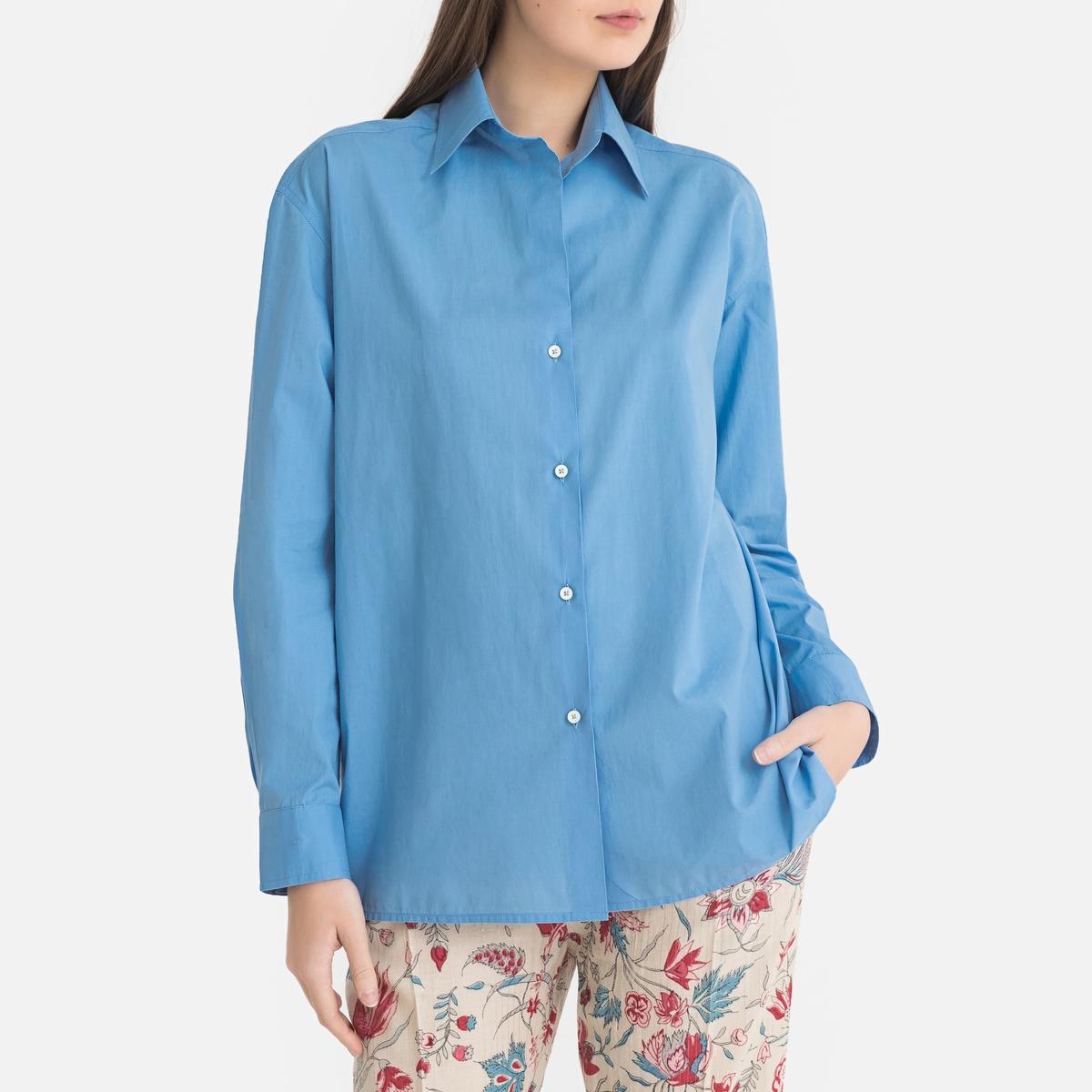 Блузка La Redoute С длинными рукавами 2(M) синий бао ло фади моды baoluofadi случайный с длинными рукавами пуловер свитер синий xxl m 155 101 302