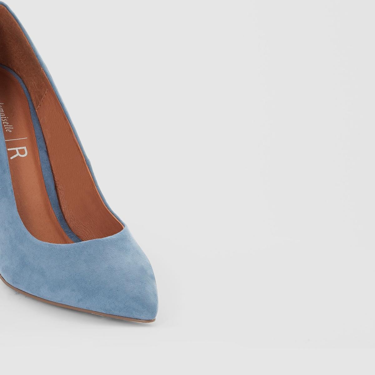 Туфли на каблуке с блёсткамиВерх/Голенище : Синтетический материал под замшу                 Подкладка : кожа             Стелька : кожа             Подошва : эластомер             Высота каблука : 9 см                 Форма каблука : высокий             Мысок : заостренный             Застежка : Без застежки<br><br>Цвет: синий,черный<br>Размер: 41.36