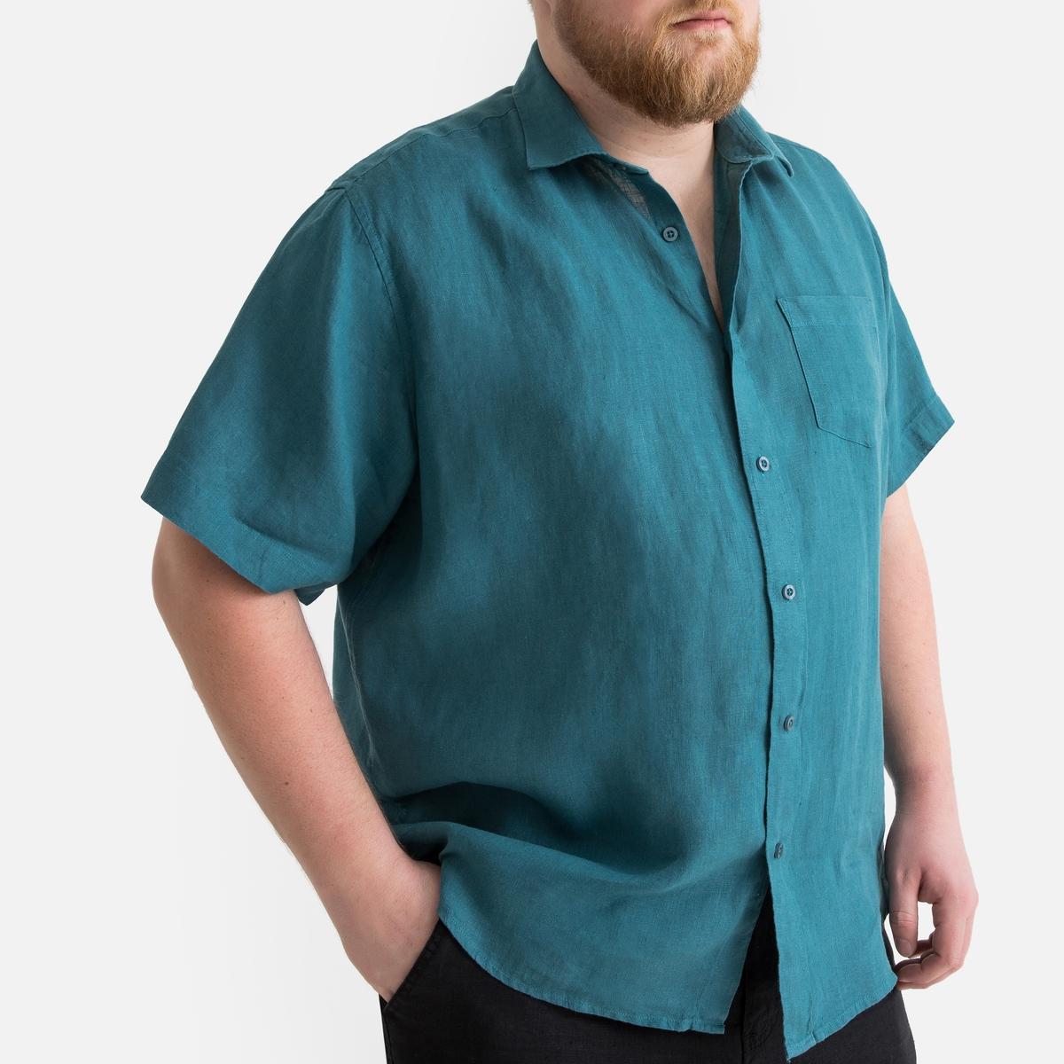 Фото - Рубашка LaRedoute Однотонная прямого покроя с короткими рукавами 100 лен 51/52 синий юбка laredoute джинсовая прямого покроя xs синий