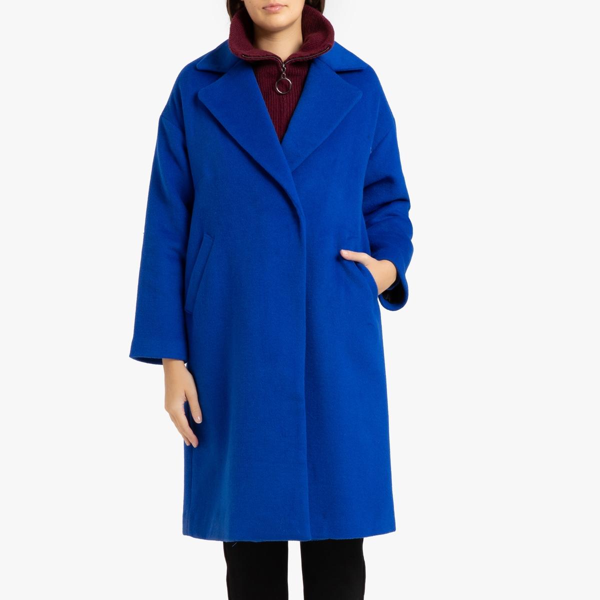 все цены на Пальто La Redoute Длинное из шерстяного драпа EDMA 3(L) синий онлайн