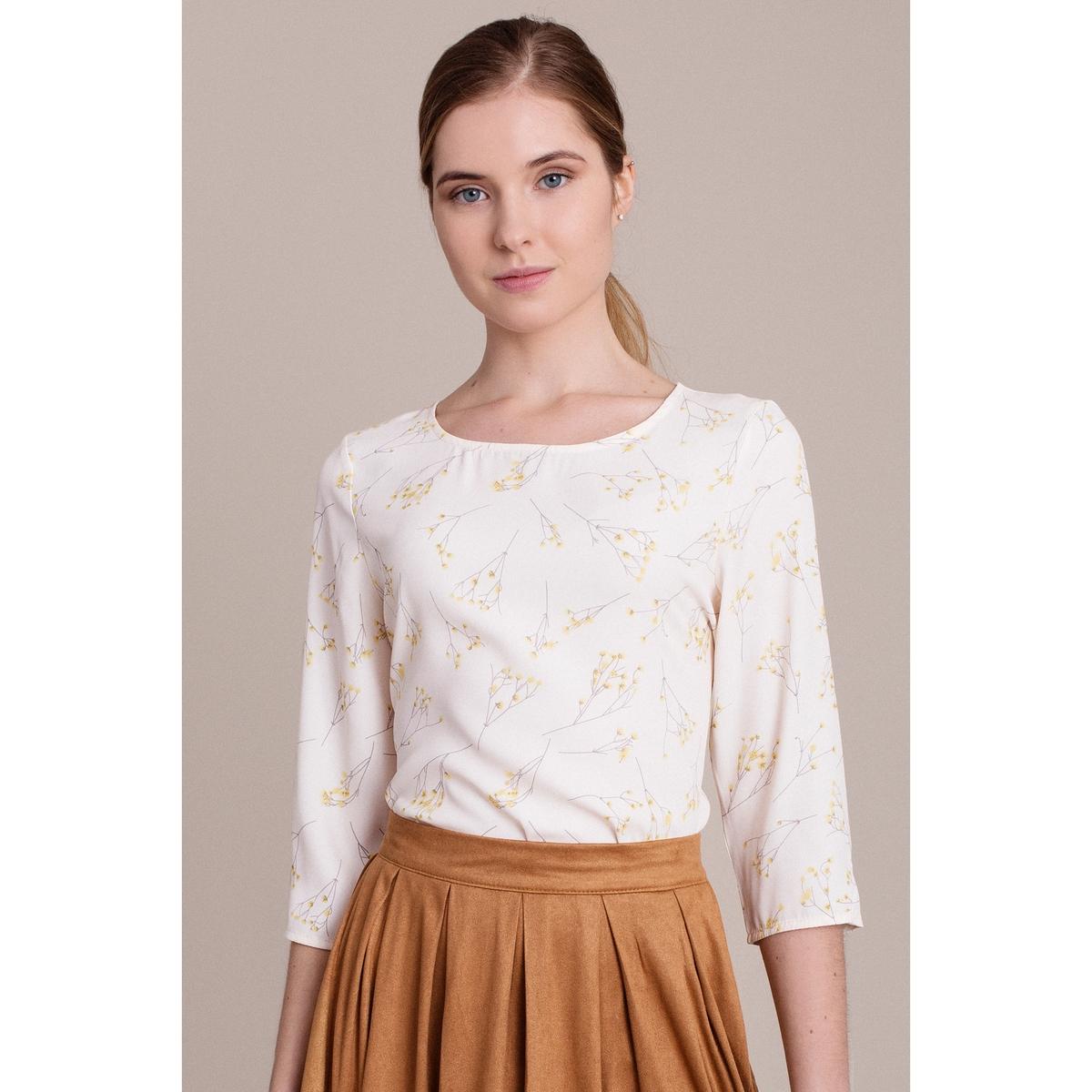 Блузка с короткими рукавами и рисункомХарактеристики &amp; детали        Материал: 100% полиэстера.                    Марка: MIGLE+ME.<br><br>Цвет: экрю/рисунок