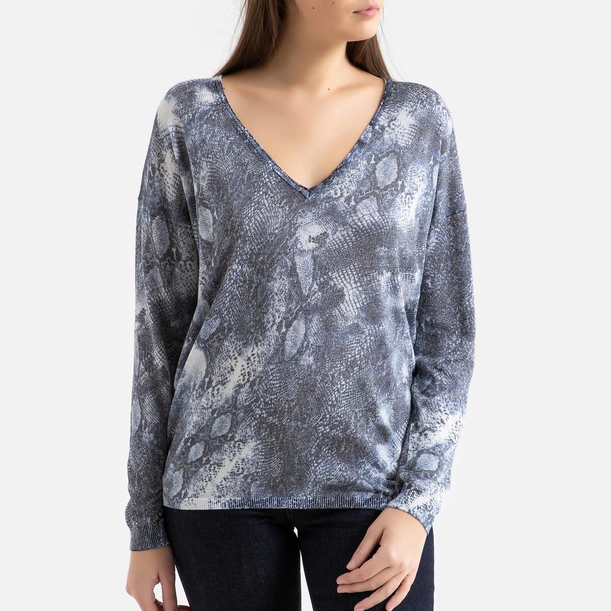Пуловер LaRedoute С V-образным вырезом из тонкого трикотажа L синий