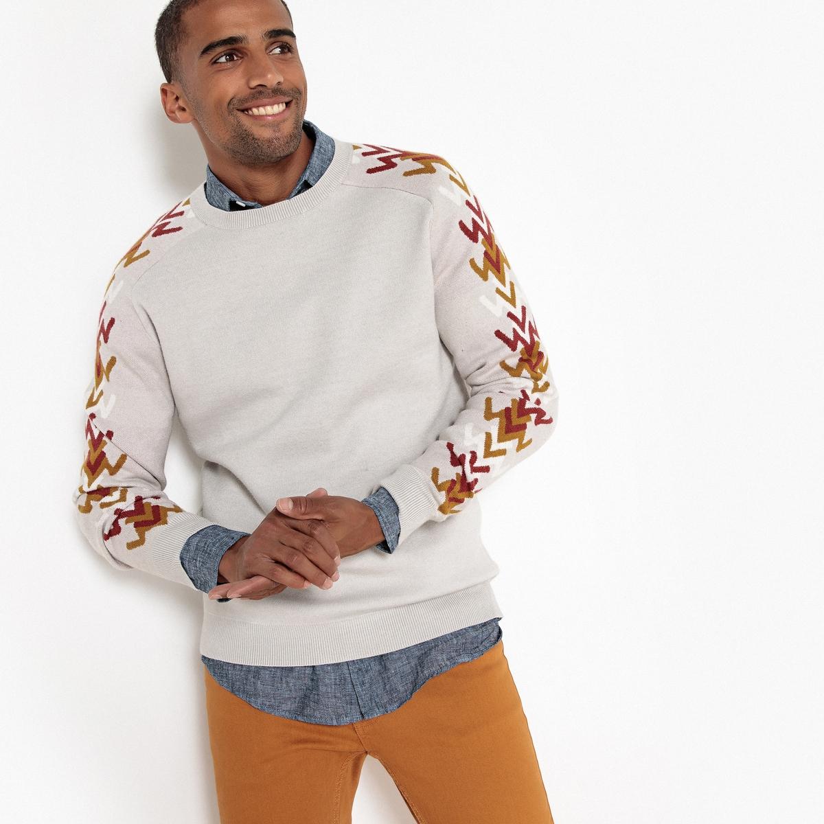 Пуловер La Redoute С круглым вырезом из тонкого трикотажа L серый пуловер la redoute с круглым вырезом в полоску из плотного трикотажа s красный