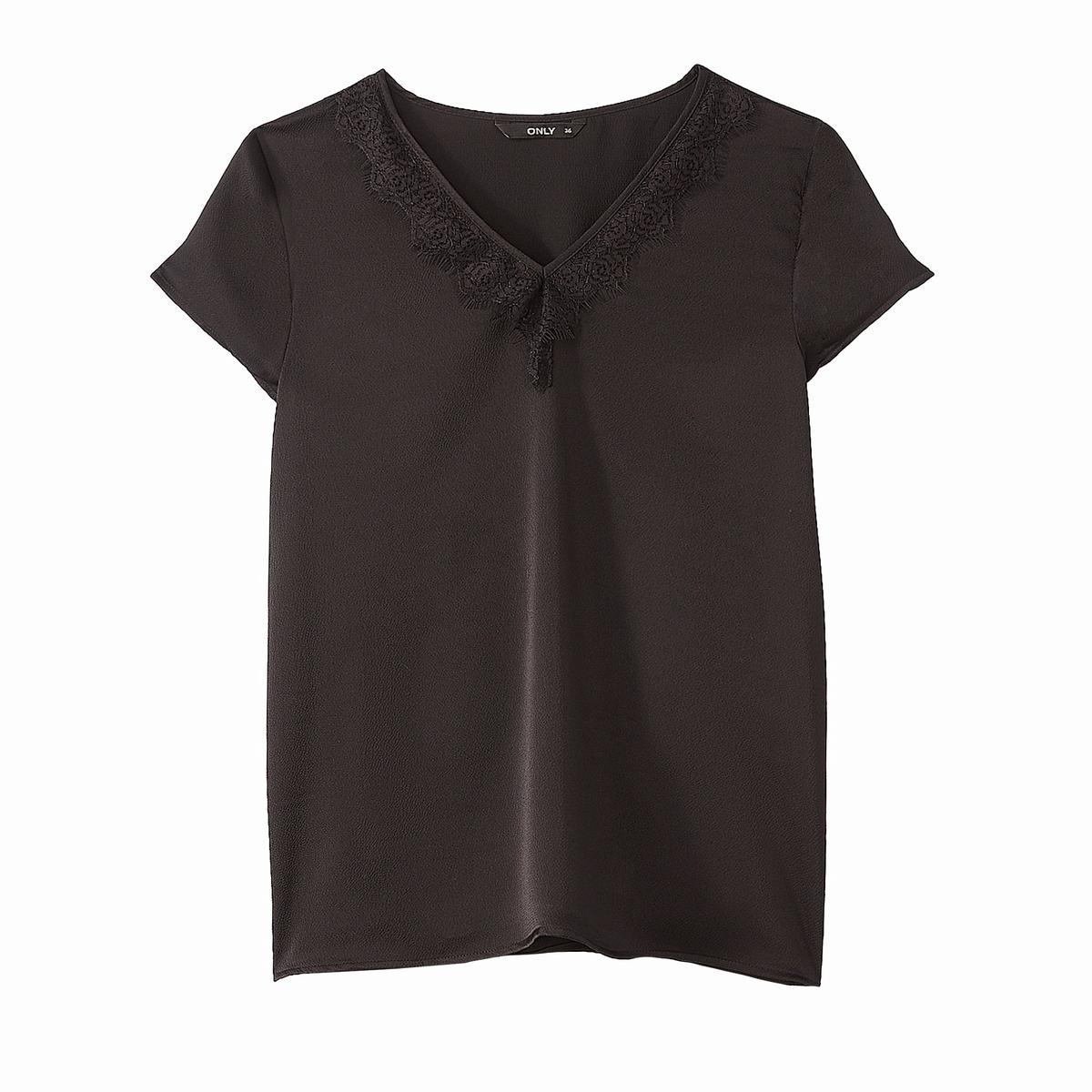 Блузка с v-образным вырезом из кружева с короткими рукавами блузка с квадратным вырезом со вставкой из кружева