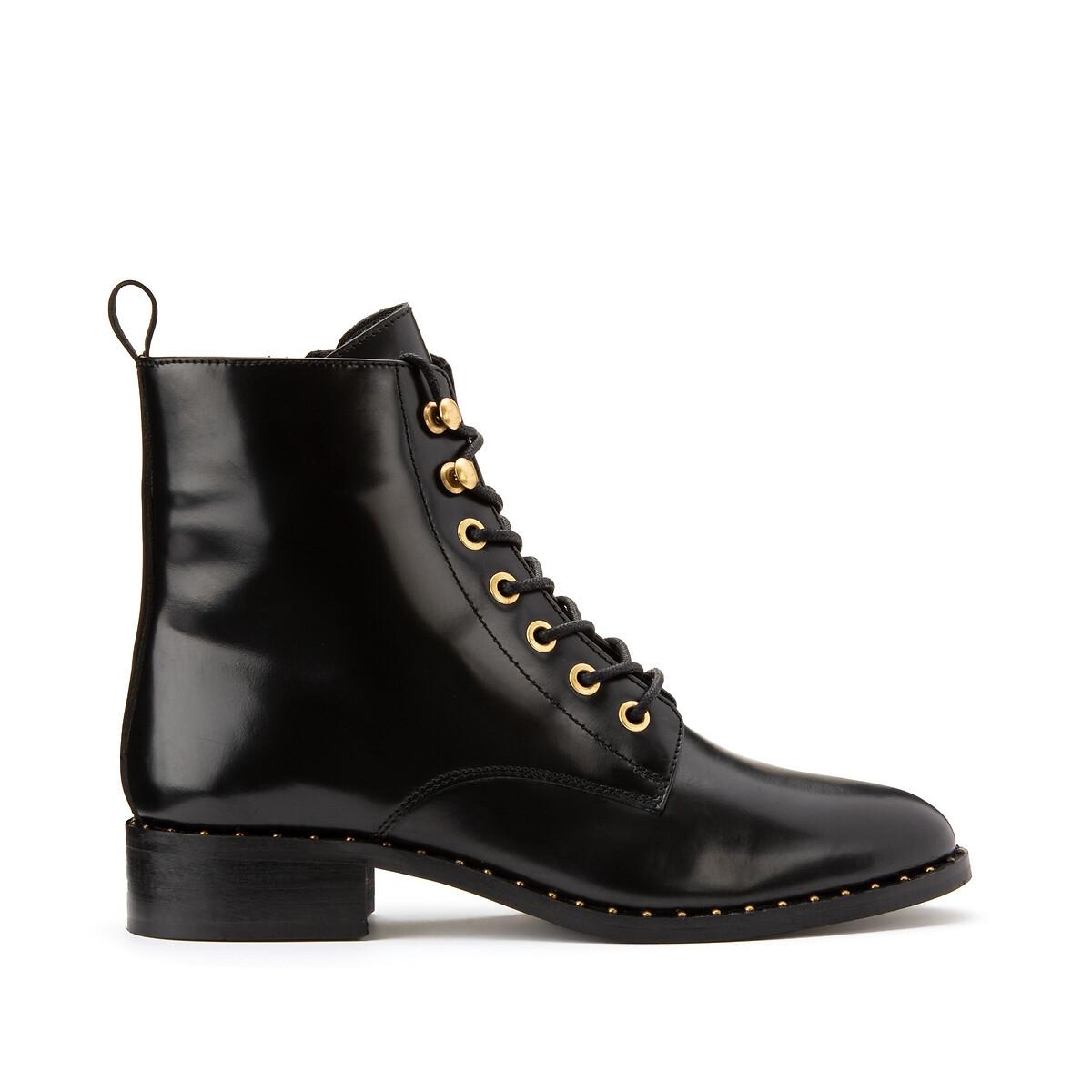Ботинки LaRedoute Из кожи на плоском каблуке 42 черный балетки laredoute с завязкой вокруг щиколотки на плоском каблуке 37 розовый