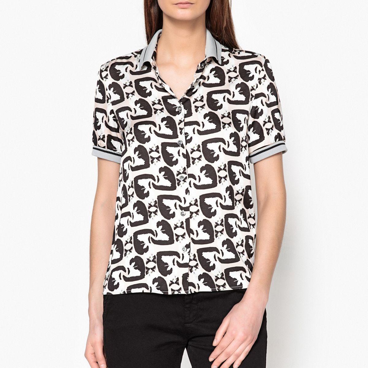 Chemise à manches courtes motif chat GALIERA