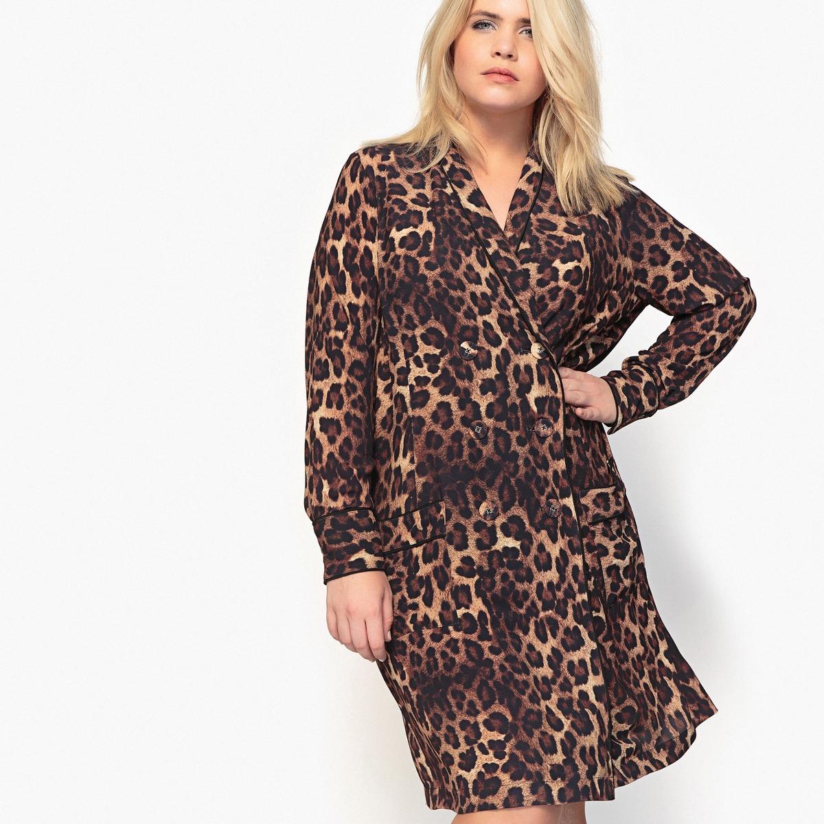 Платье-рубашка с леопардовым рисунком