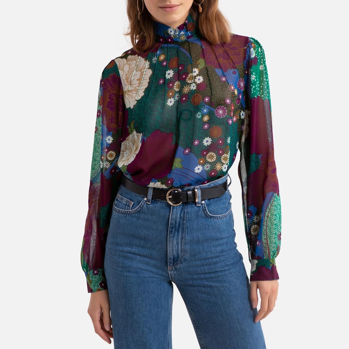 Блузка LaRedoute С воротником-стойкой цветочным рисунком и длинными рукавами S зеленый