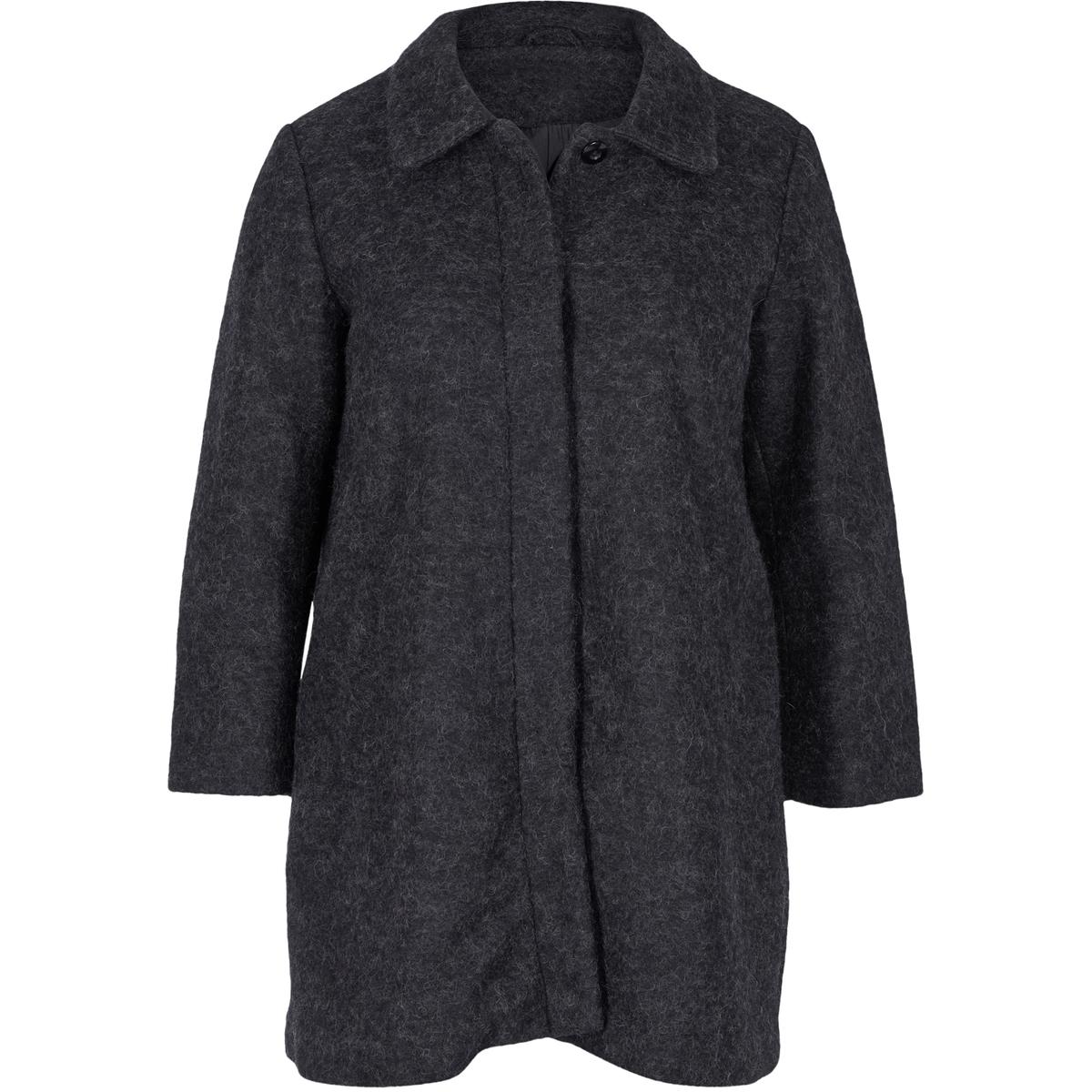 Пальто, 60% шерстиПальто - ZIZZI. 60% шерсти, 40% полиэстера.Красивое пальто Zizzi. Шерсть высокого качества. Прямой покрой, скрытая застежка на пуговицы. 2 кармана спереди.<br><br>Цвет: серый