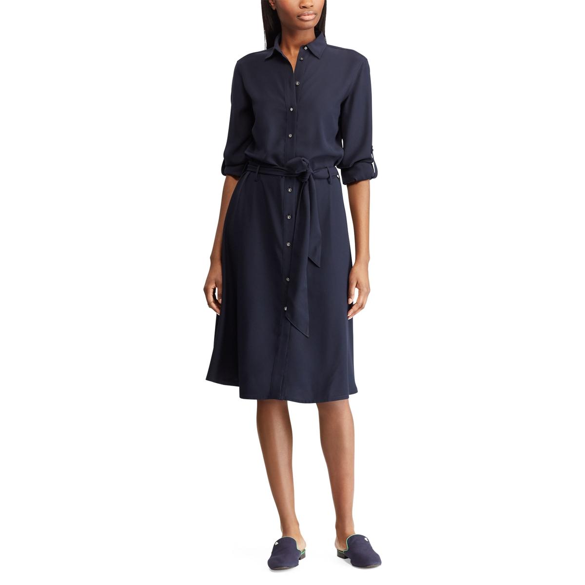 Платье La Redoute На пуговицах с длинными рукавами 36 (FR) - 42 (RUS) синий платье с длинными рукавами с вышивкой
