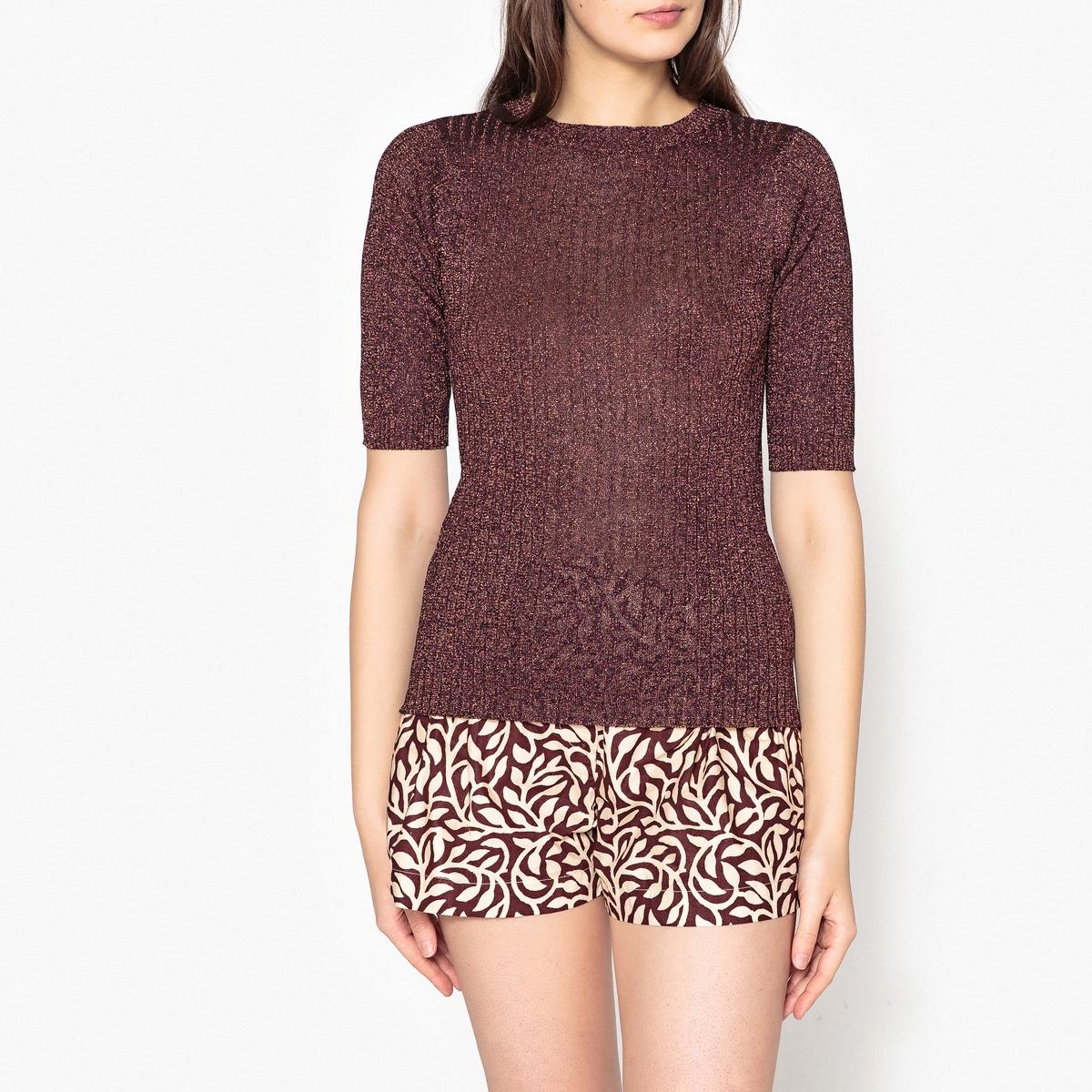 Пуловер рифленый с короткими рукавами DELON пуловер свободный с рукавами 3 4