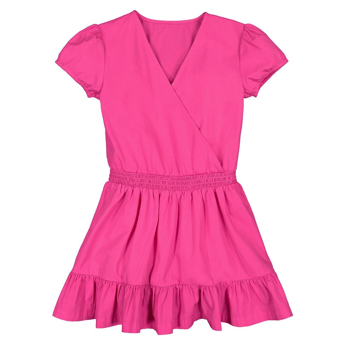 Vestido de mangas curtas com efeito cruzado, 3-12 anos