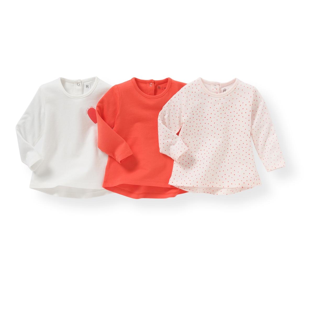 3 футболки с длинными рукавами, 1 мес.-3 летКомплект из 3 футболок с  длинными рукавами : 1 однотонная + 1 с принтом в горошек + 1 с нашивкой в виде сердца на груди . Круглый вырез. Застежка на кнопках до середины спинки . Состав и описание :Материал       100% хлопокМарка       R ?ditionУход: :Стирать и гладить с изнаночной стороныМашинная стирка при 40 °C с вещами схожих цветовМашинная сушка в умеренном режимеГладить при средней температуре  Знак марки отпечатан с внутренней стороны и не напечатан на пришитой этикетке сзади, чтобы не вызвать раздражение или зуд на коже ребенка  .<br><br>Цвет: белый + розовый + коралловый<br>Размер: 3 мес. - 60 см.1 мес. - 54 см
