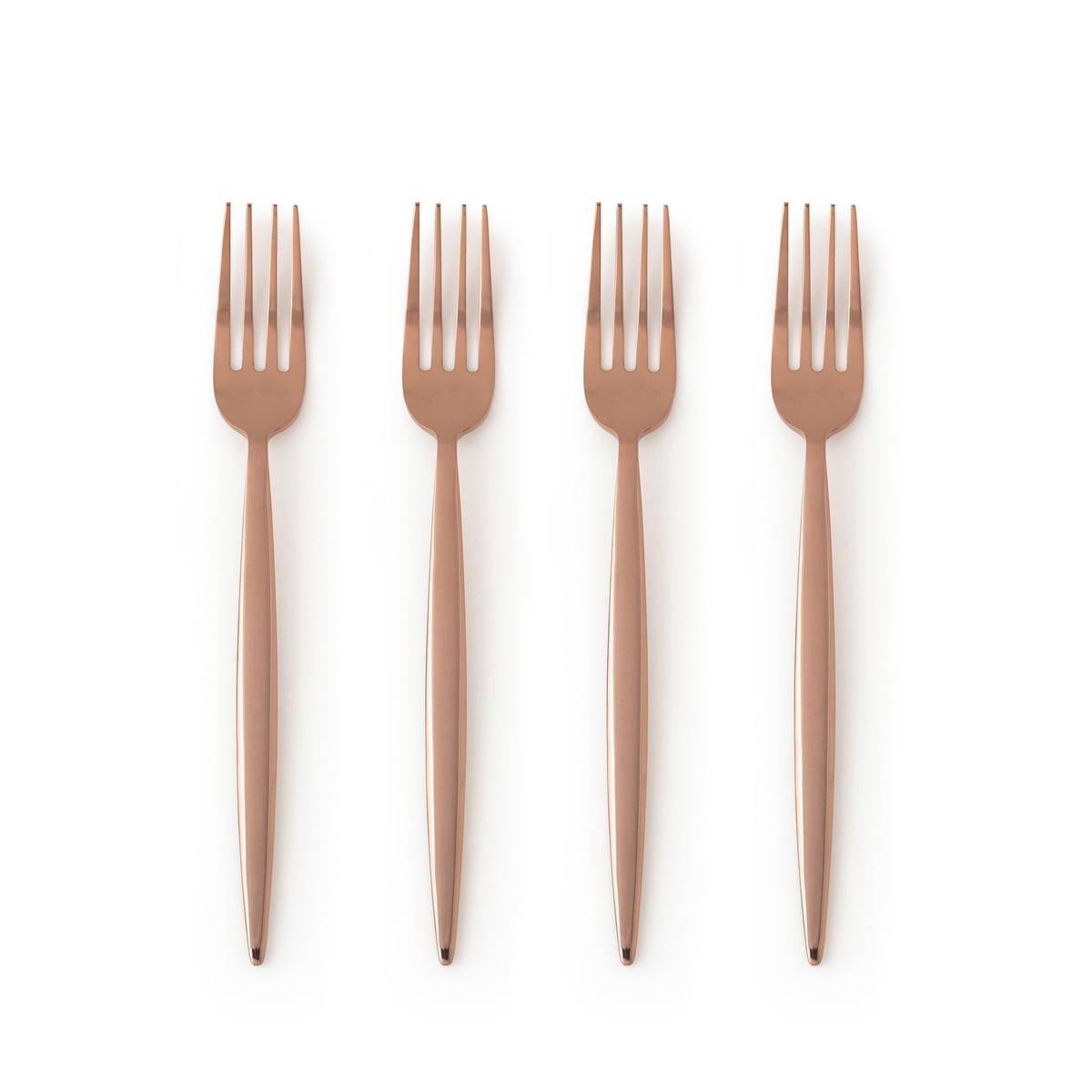 Комплект из 4 вилок Mandoulis4 вилки Mandoulis. Для элегантного и изысканного стола… Из нержавеющей стали с покрытием золотистого цвета. Подходят для использования в посудомоечной машине.<br><br>Цвет: темно-золотистая сталь