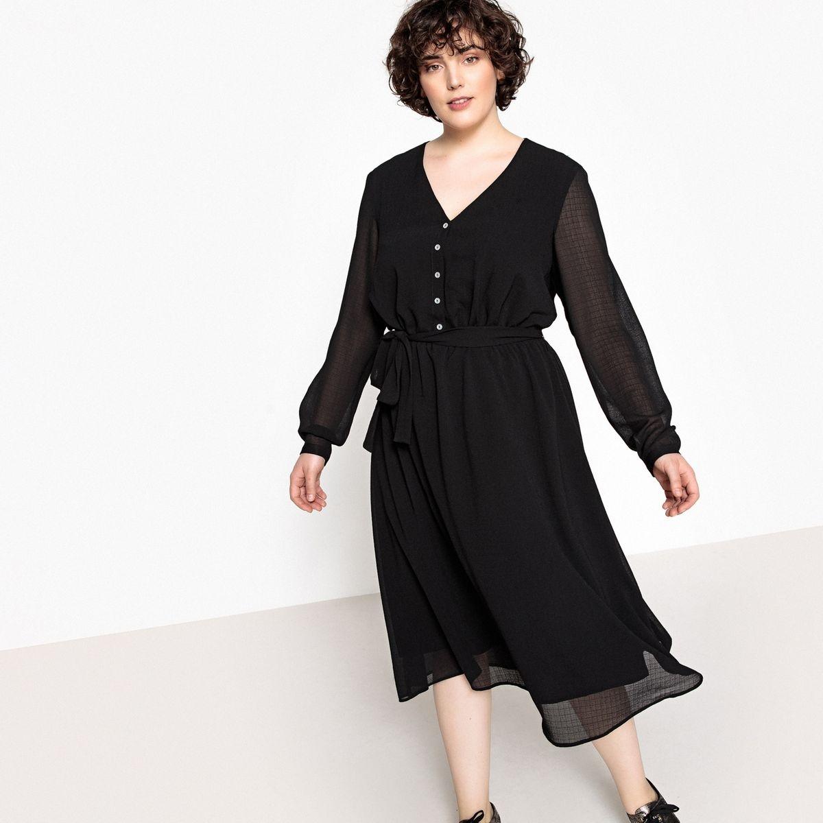 Robe droite, ceinture taille, manches longues