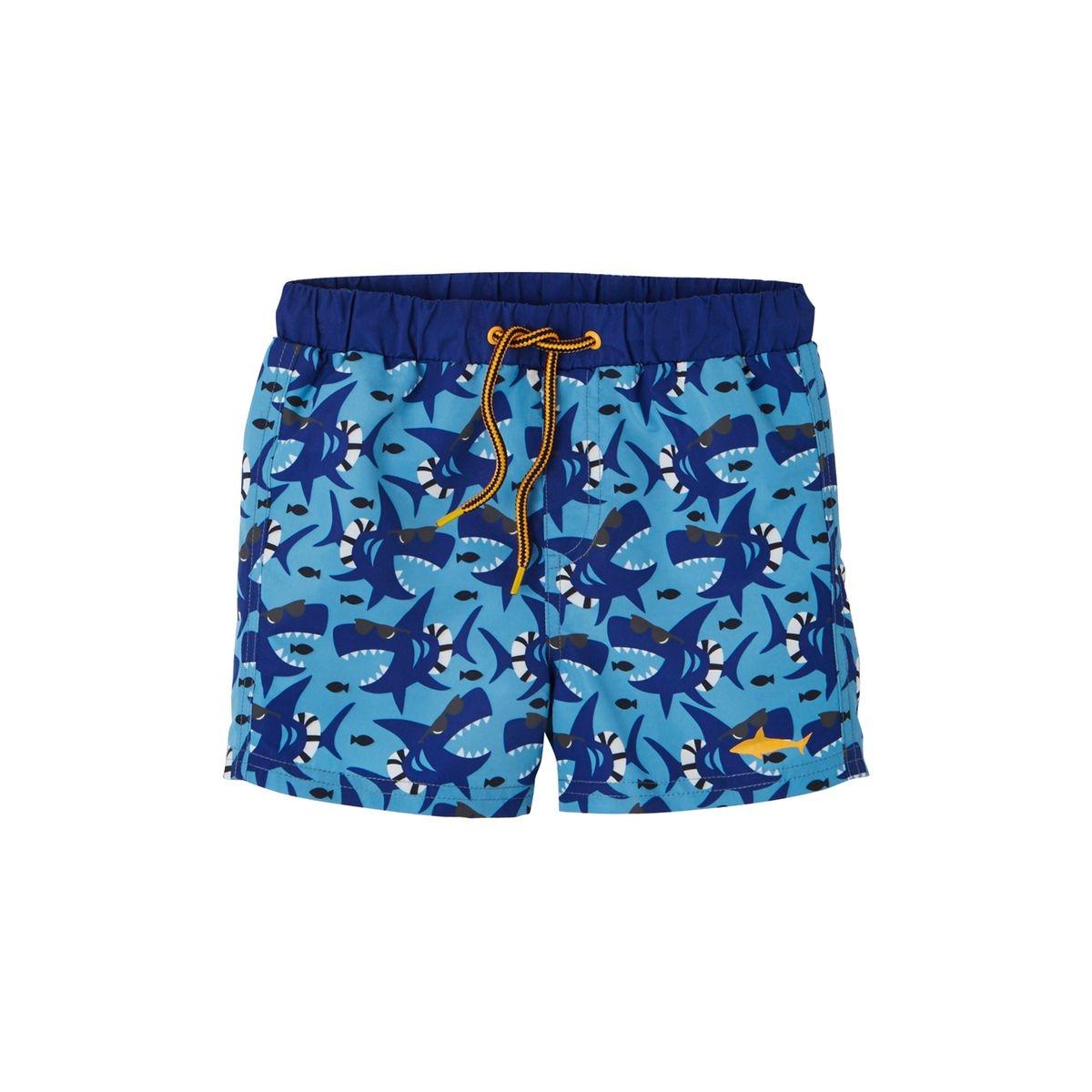 Short de bain garçon motifs requins rigolos