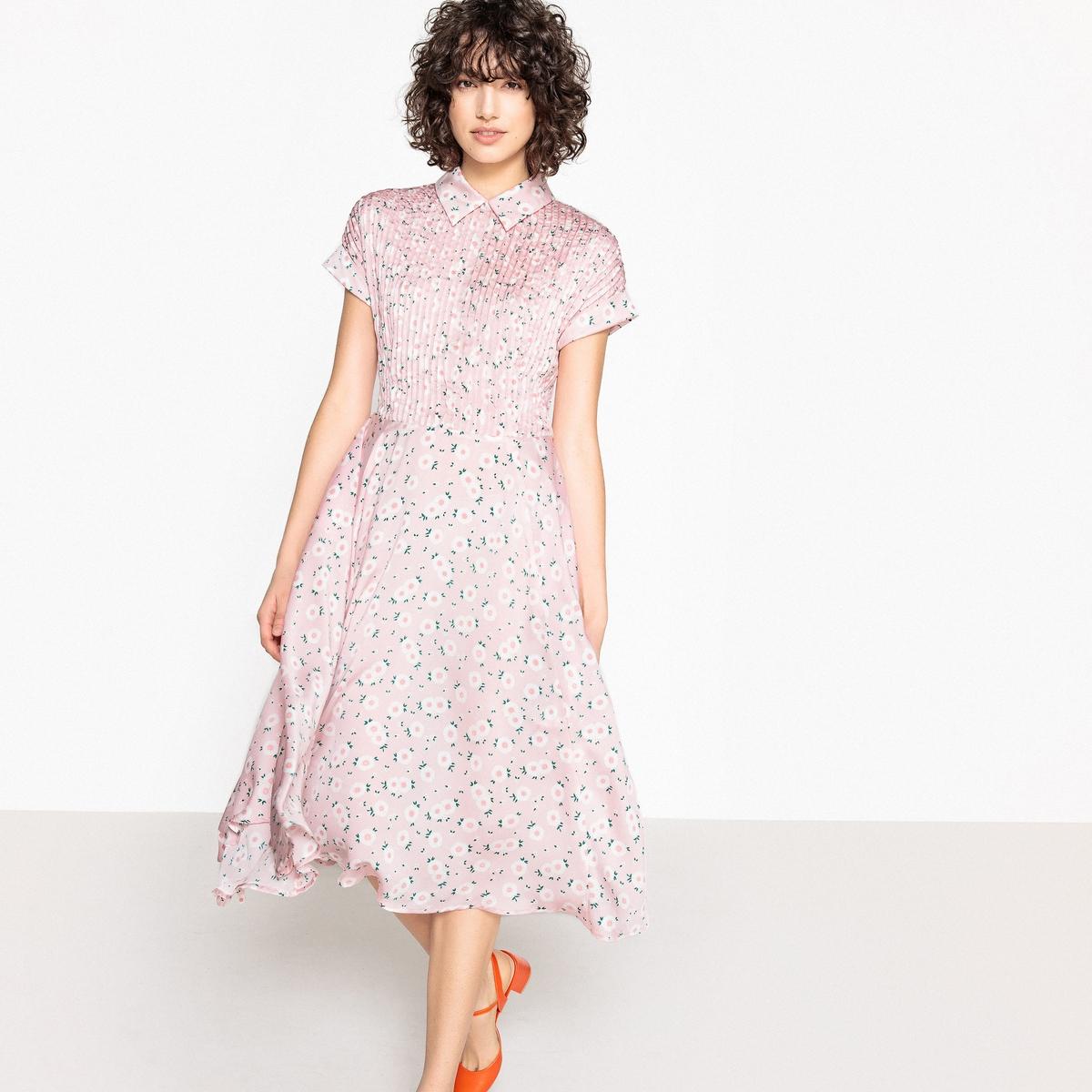 Платье плиссированное с цветочным рисунком и рубашечным воротником
