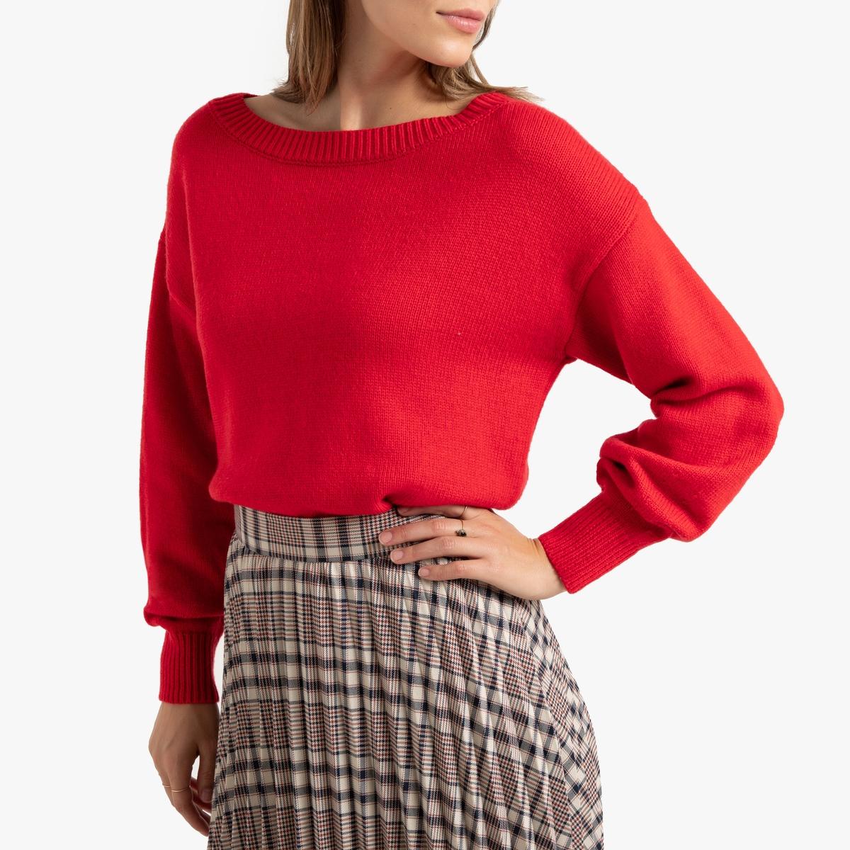 Пуловер La Redoute С круглым вырезом и напускными рукавами L красный пуловер la redoute с круглым вырезом из шерсти мериноса pascal 3xl черный