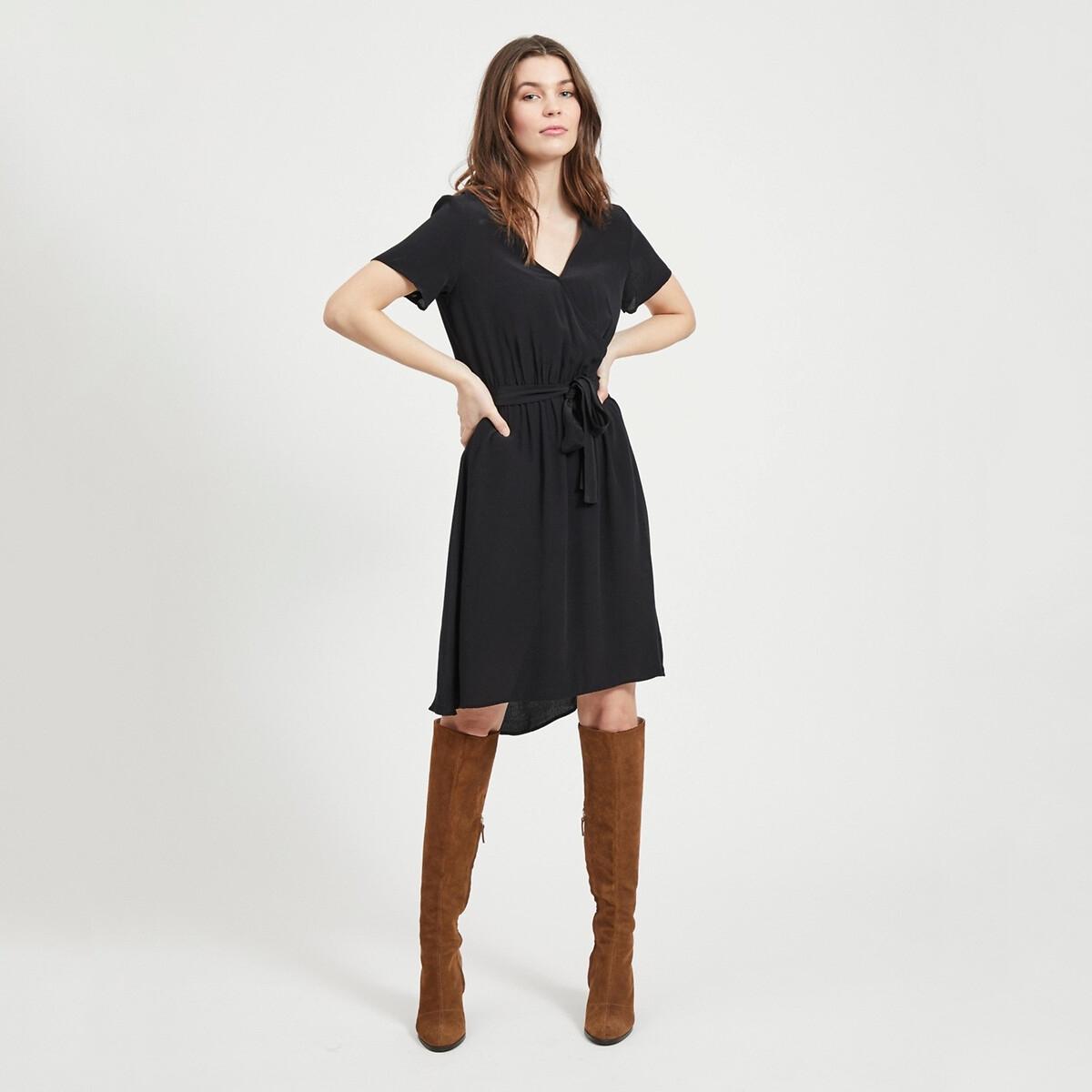 Платье La Redoute С запахом длинной до колен 34 (FR) - 40 (RUS) черный платье la redoute прямое с принтом до колен 48 fr 54 rus черный