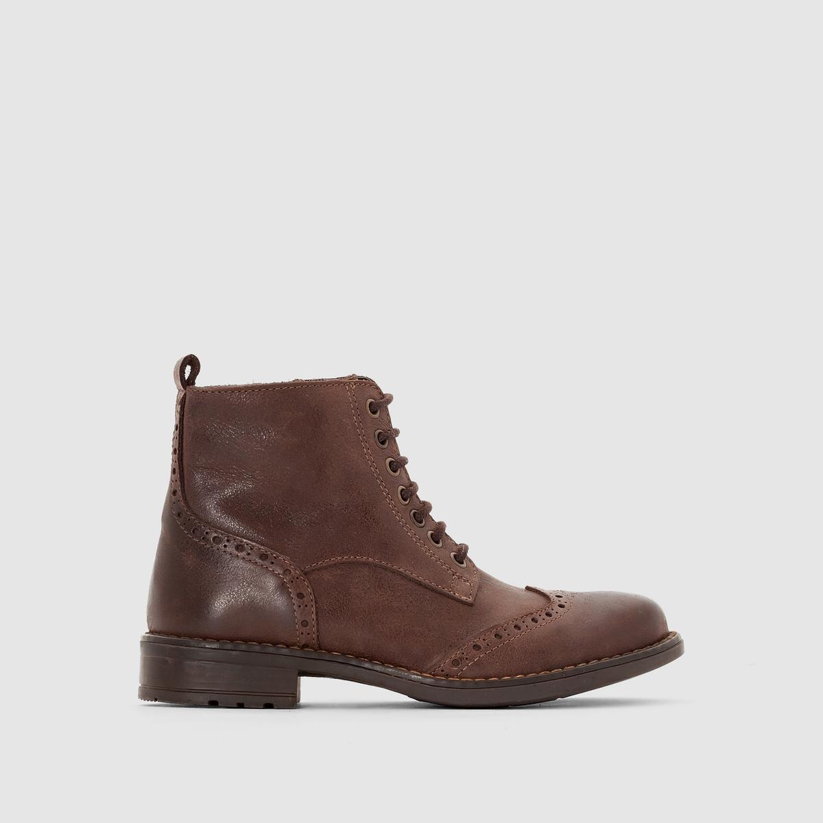 Ботинки из патинированной кожиПерфорированный мысок, красивая патинированная кожа, изысканный городской стиль : ботинки в современном и ретро-стиле, которые понравятся нашим детям !<br><br>Цвет: темно-бежевый<br>Размер: 28