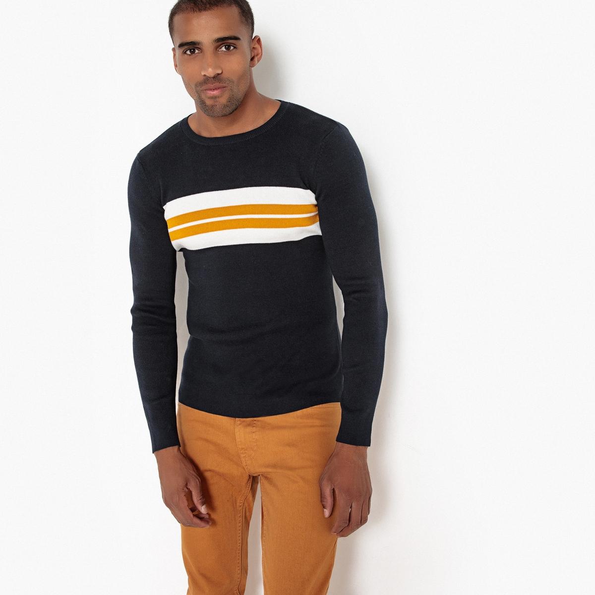 Пуловер La Redoute С круглым вырезом из тонкого трикотажа 3XL синий