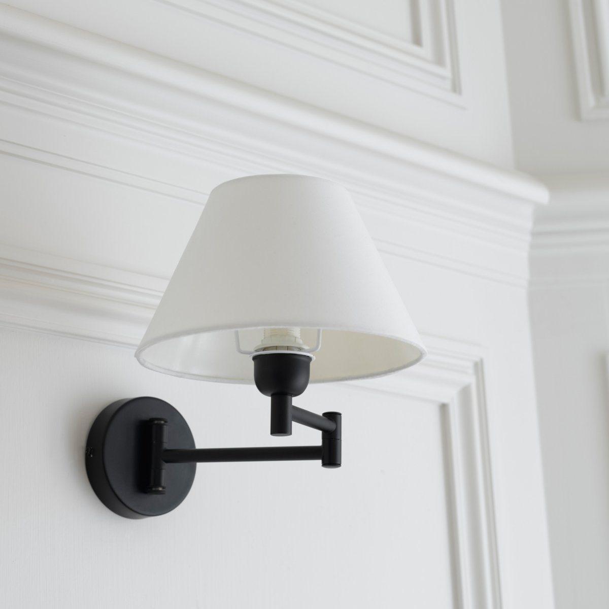 Светильник на шарнирном соединении, NynaСветильник Nyna. Современный настенный светильник Nyna обладает секретом создания изысканной и интимной атмосферы .Описание светильника  Nyna   :Абажур светло-бежевого цвета .Низ закругленной формы .Патрон E14 для лампочки макс. 40W (не входит в комплект)  .Этот светильник совместим с лампочками    энергетического класса   : A-B-C-D-E  Характеристики светильника  Nyna  :Металл с эпоксидным  покрытием черного матового цвета .Абажур из хлопка Найдите нашу коллекцию светильников на сайте laredoute ..Размеры светильника Nyna :Абажур: Диаметр внизу : 22 см, диаметр верха :10 см. Высота : 13 см.Общие размеры :Светильник в разложенном виде: Длина : 22 смВысота : 60 смГлубина : 38,5 см.В собранном виде:Длина : 22 смВысота : 60 смГлубина : 26 см<br><br>Цвет: черный