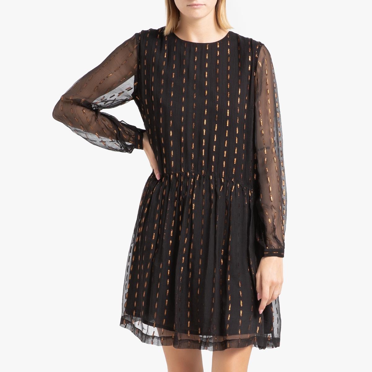 Платье La Redoute Из вуали с принтом короткое ESMEE 40 (FR) - 46 (RUS) черный
