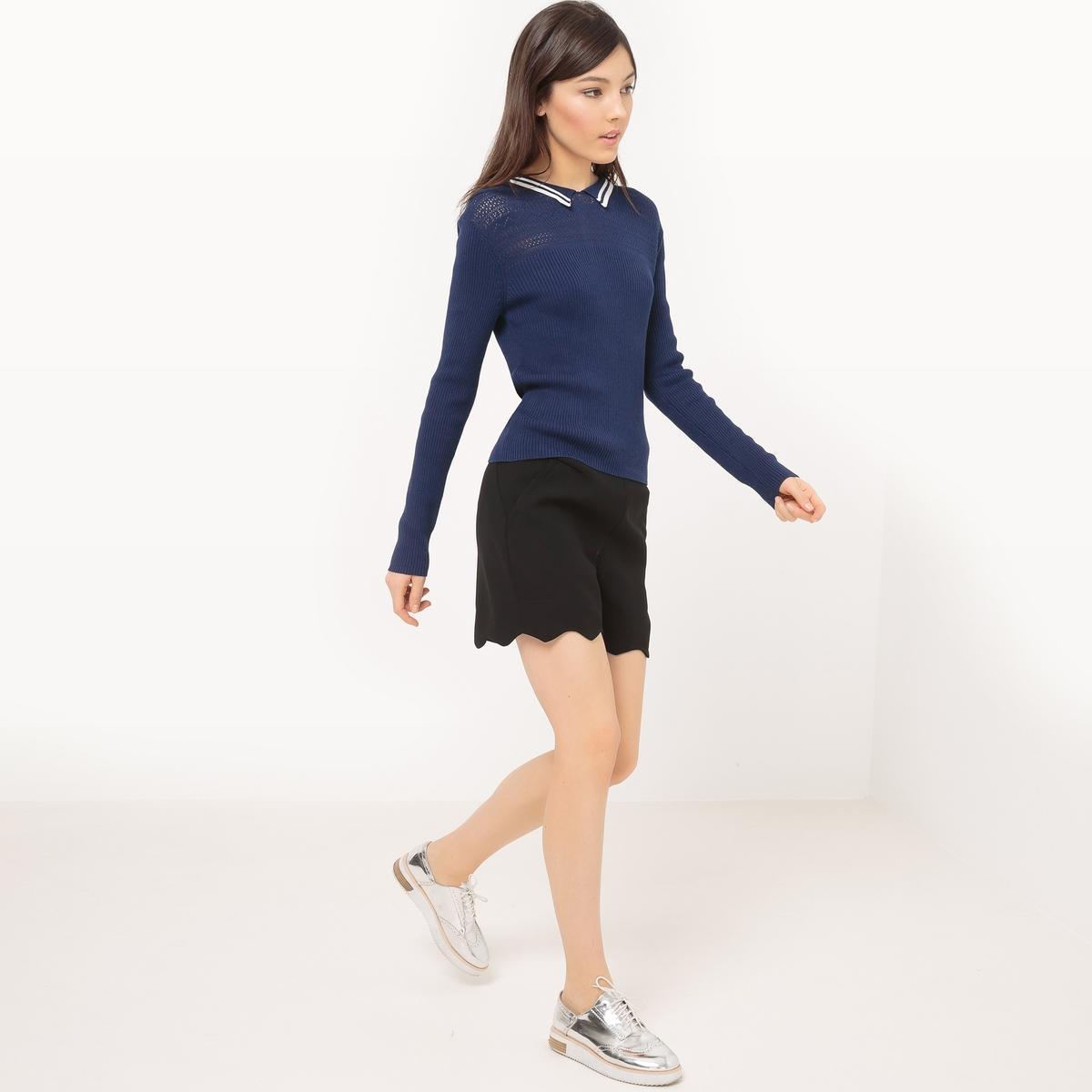 Пуловер с воротником поло из хлопкаМатериал : 50% хлопка, 50% модала          Длина рукава : Длинные рукава          Форма воротника : воротник-поло, рубашечный          Покрой пуловера : стандартный          Рисунок : Однотонная модель          Особенность материала : ажурный трикотаж<br><br>Цвет: красный,темно-синий<br>Размер: S.XL.L.M.XL.L.M
