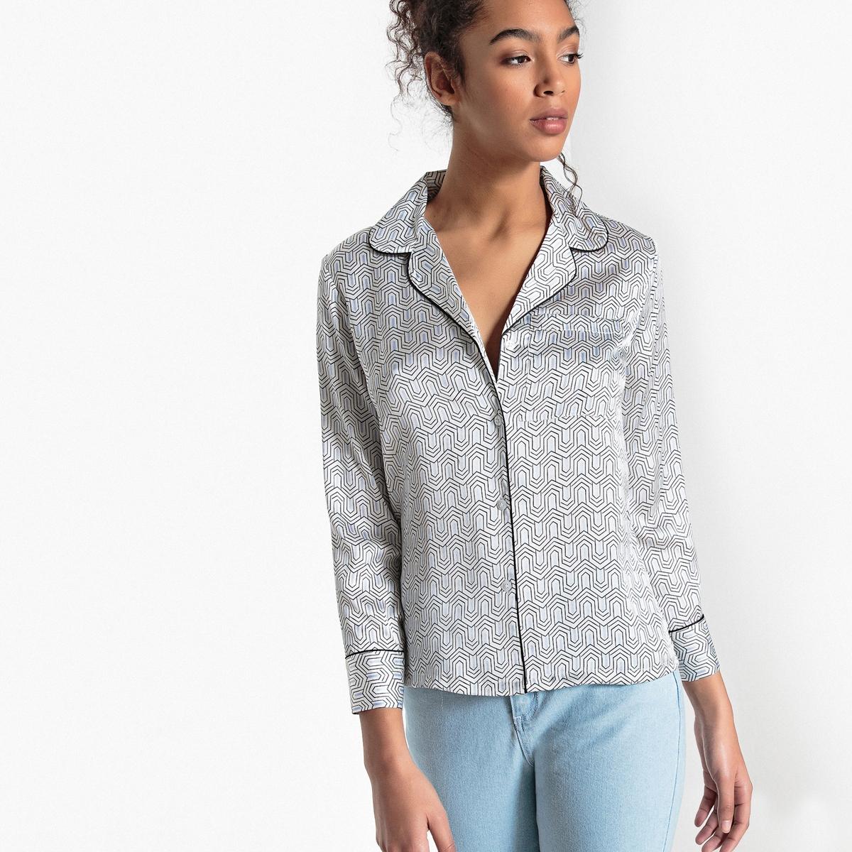 Блузка блестящая  костюмным воротником  геометрическим рисунком