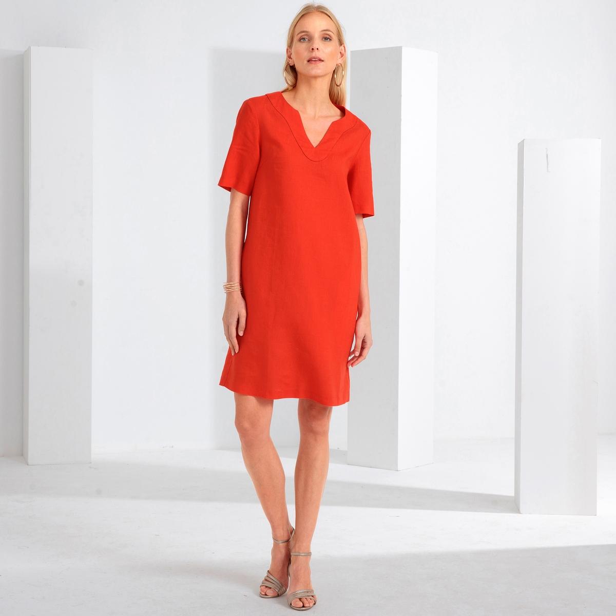 Imagen principal de producto de Vestido recto 100% lino, de manga 3/4 - Anne weyburn