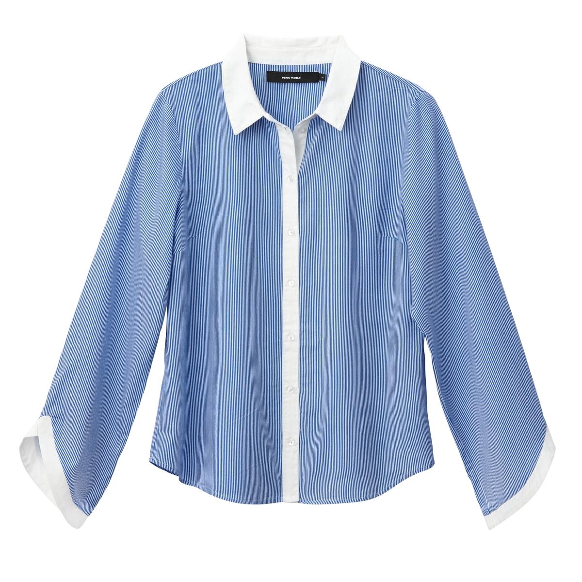 Рубашка с воротником-поло и длинными рукавамиОписание:Детали •  Длинные рукава •  Прямой покрой •  Воротник-поло, рубашечный •  Рисунок в полоску   •  Уголки воротника на пуговицахСостав и уход •  100% хлопок •  Следуйте рекомендациям по уходу, указанным на этикетке изделия<br><br>Цвет: розовый в полоску,синий/ в полоску