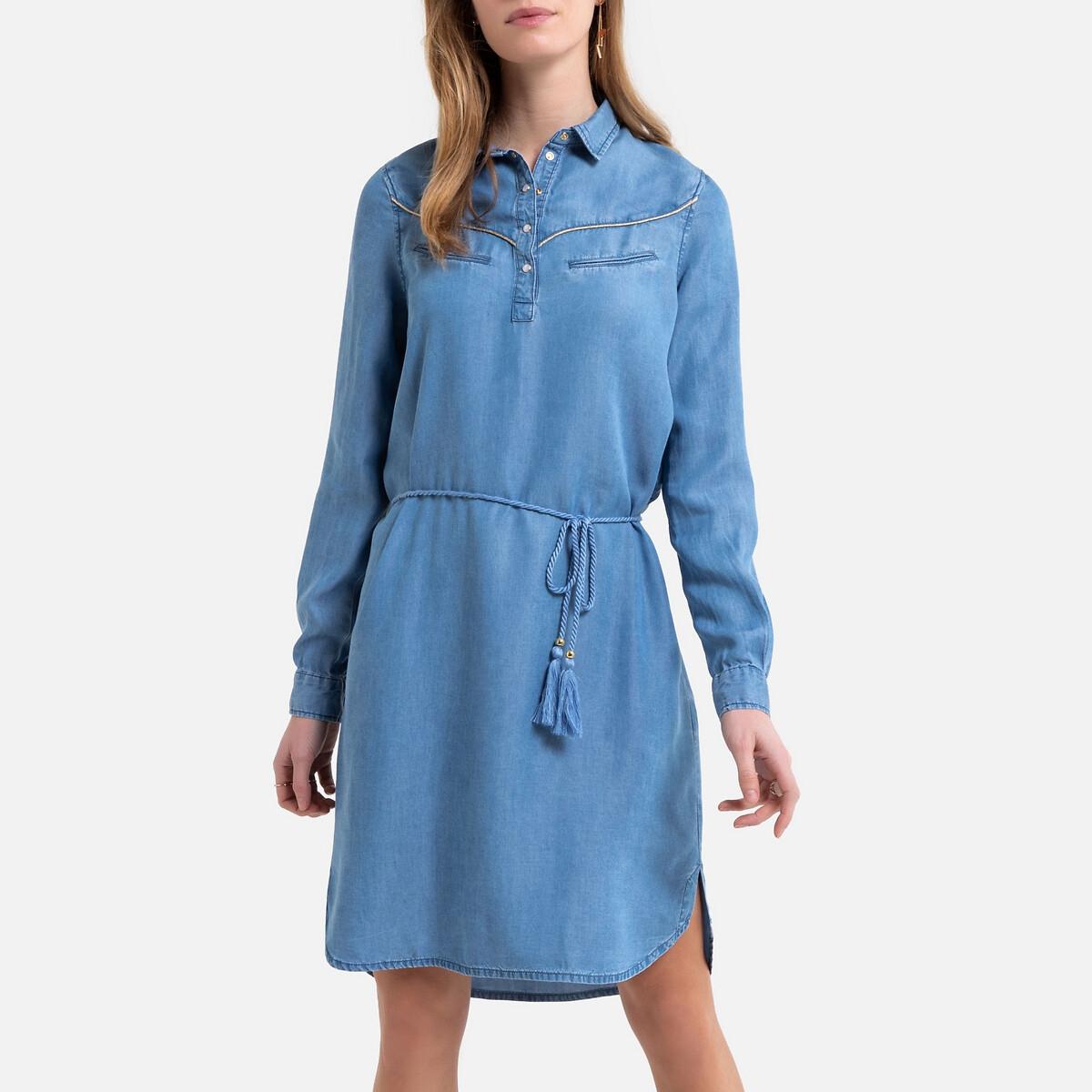 Платье-рубашка La Redoute Джинсовое ремешок с завязками S синий