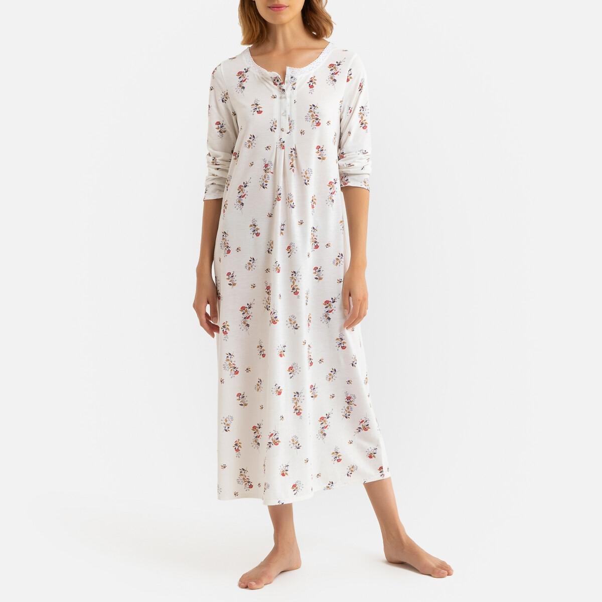 Ночная La Redoute Рубашка длинная из трикотажа вставка из макраме 50/52 (FR) - 56/58 (RUS) разноцветный рубашка ночная с макраме