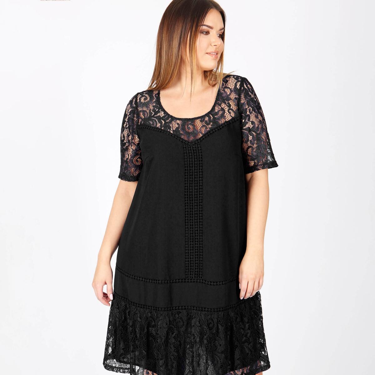Платье прямое средней длины, однотонное, с короткими рукавами