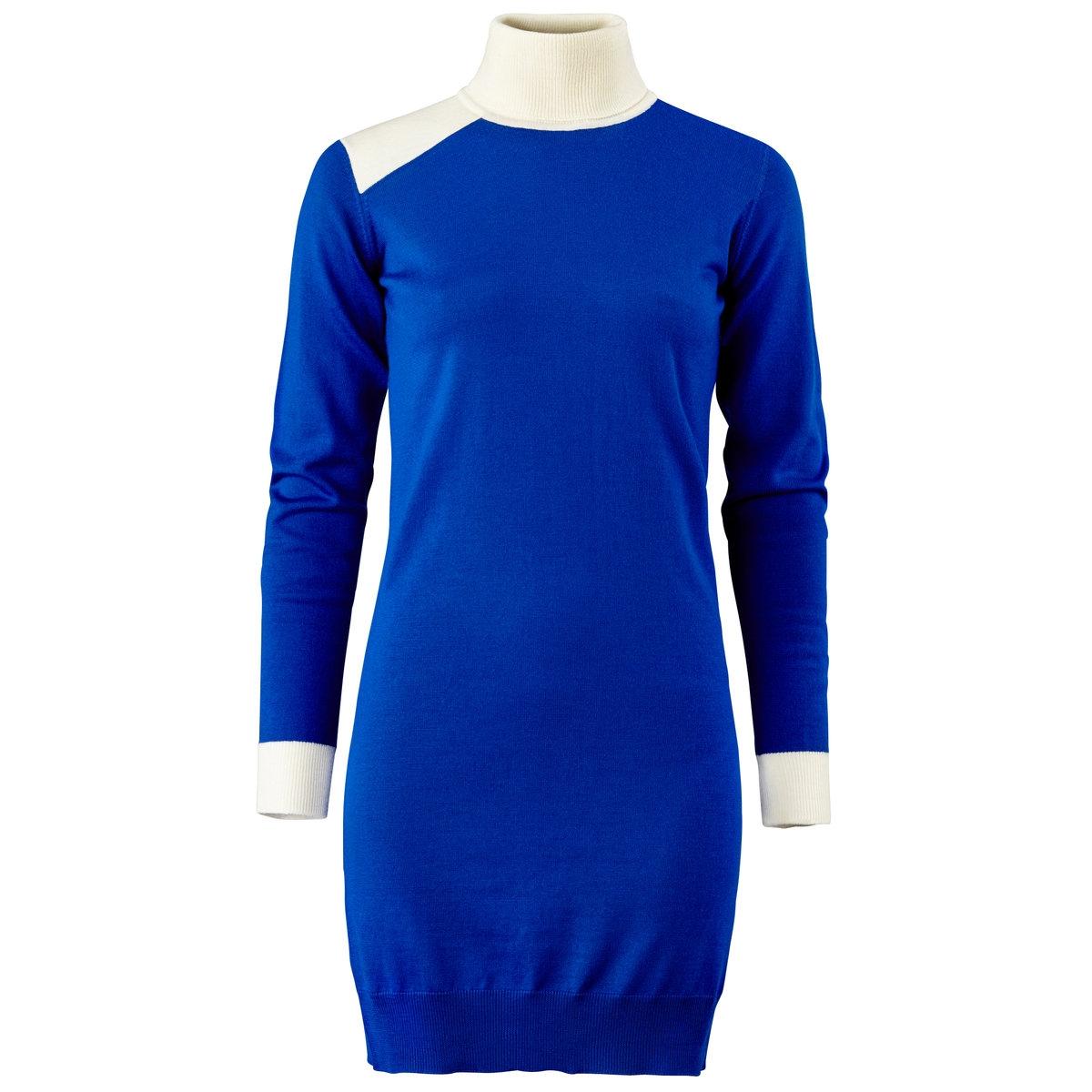 Платье длинное, 100% шерстиДлинное трикотажное платье. 100% шерсти. Высокий воротник. Длинные рукава. Длина: 90 см.<br><br>Цвет: синий + экрю<br>Размер: 38/40 (FR) - 44/46 (RUS)
