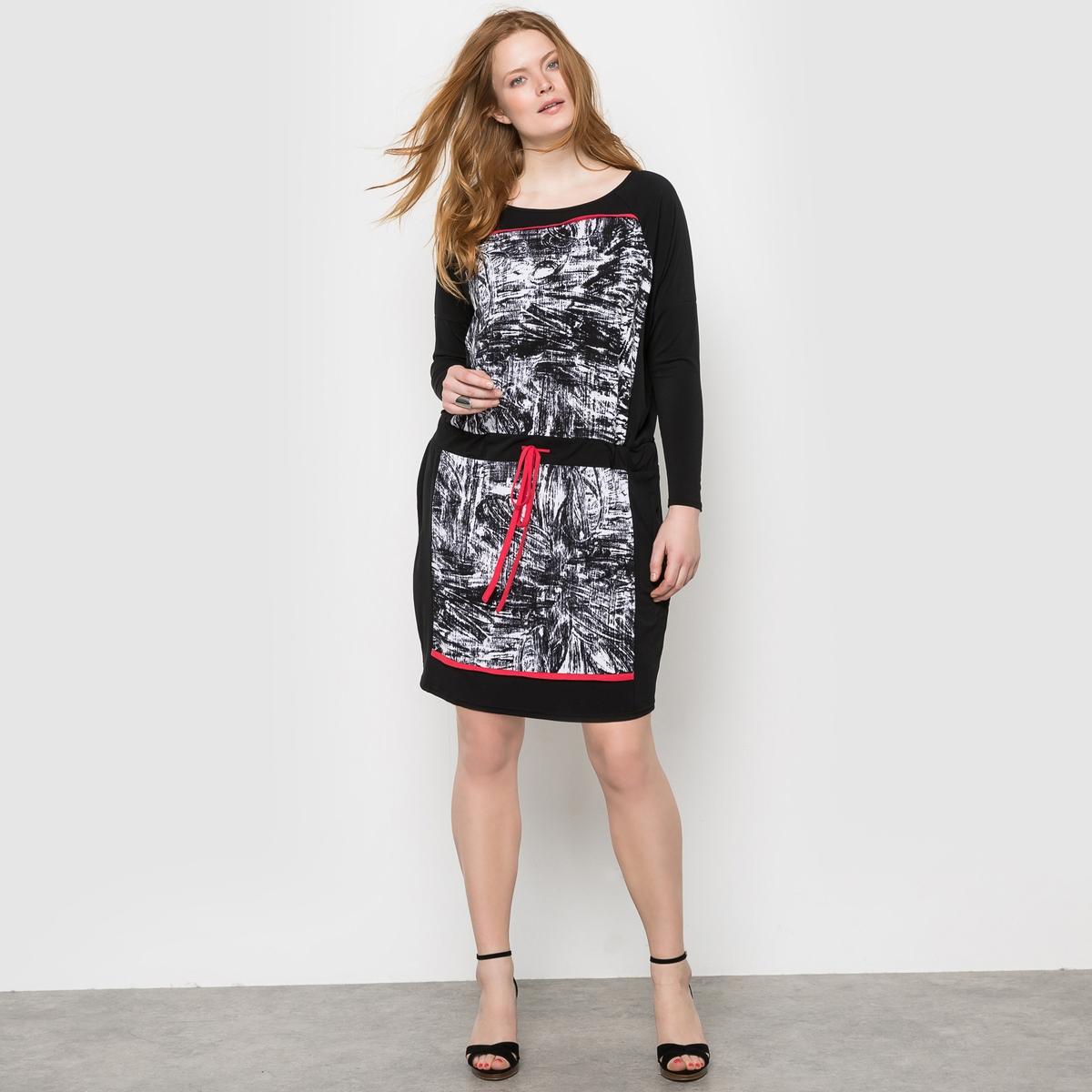 ПлатьеПлатье MELLEM . 92% полиэстера, 8% эластана. Платье из крепа с рисунком . Это очень удобное платье полностью из трикотажа с длинными рукавами идеально для весны . Очень стильное платье с карандашным рисунком и яркими штрихами  ! Завязки на поясе позволяют подогнать форму платья под ваши желания .<br><br>Цвет: черный