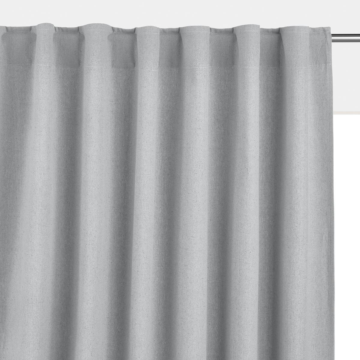 Штора LaRedoute Из льна и хлопка со скрытыми клапанами Tama 180 x 145 см серый