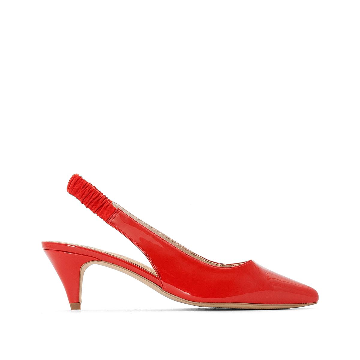 цена на Туфли La Redoute Открытые на каблуке с эластичным ремешком 38 красный