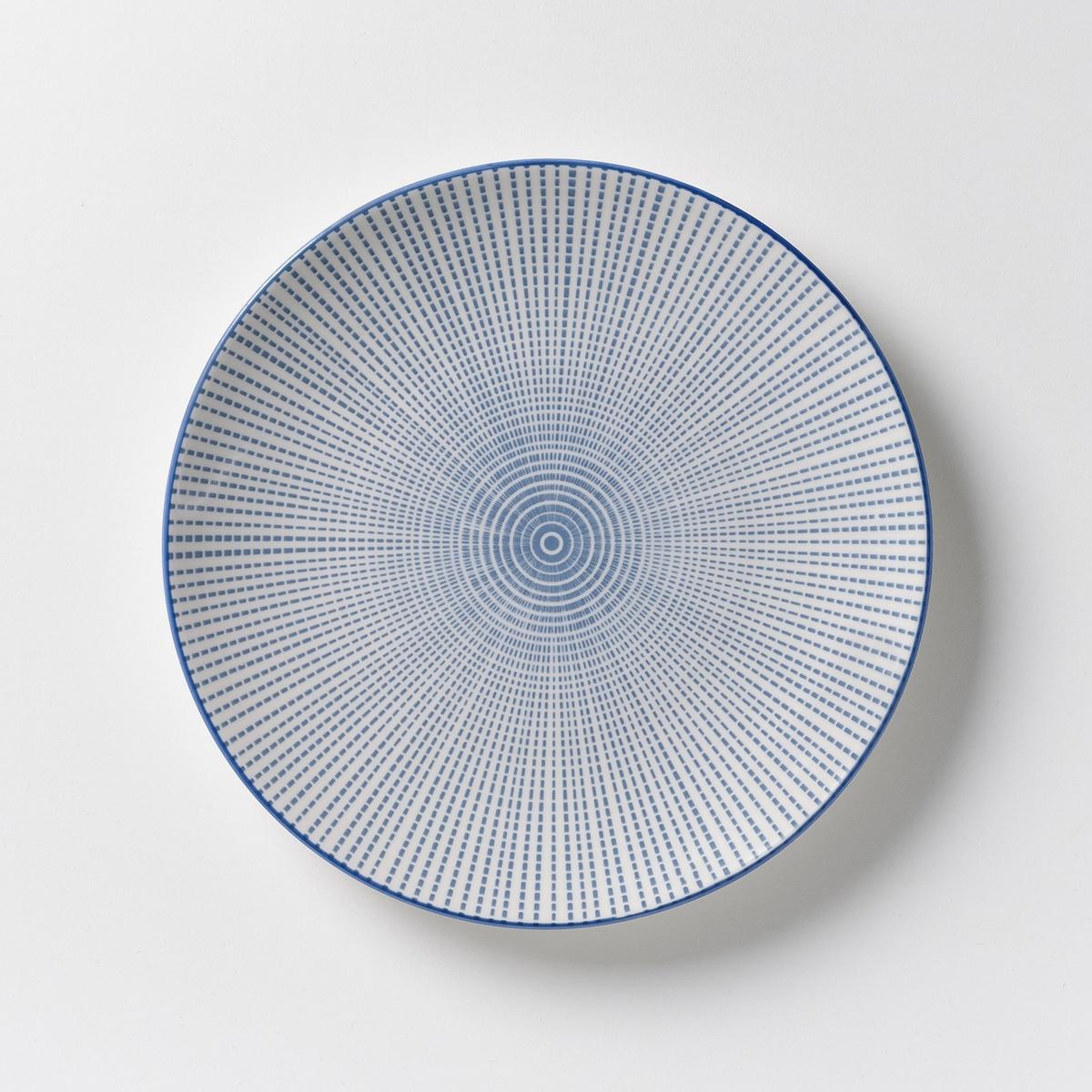 4 тарелки десертные фарфоровые Shigoni<br><br>Цвет: синий/белый,черный + белый