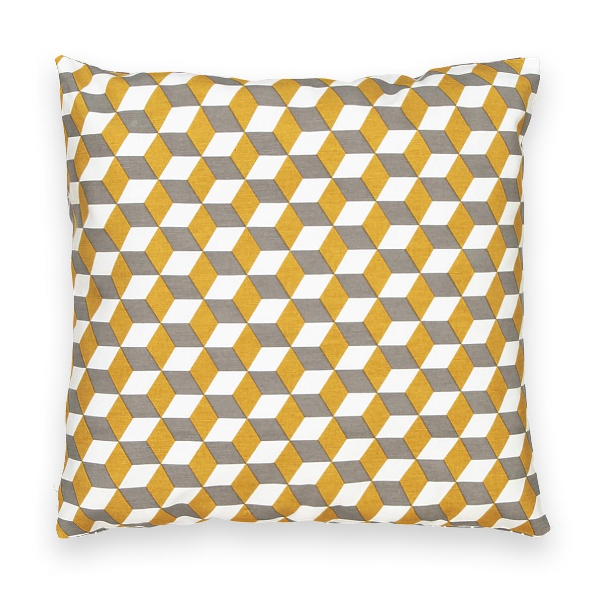 Чехол для подушкиЧехол для подушки Decio. Красивый геометрический рисунок с одной стороны, однотонный белый цвет с другой стороны. Застежка на скрытую молнию в тон. Стирка при 30°. 100% хлопка. Размер: 40 х 40 см.<br><br>Цвет: бледно-зеленый/латунь,красный/ синий,медный/светло-серый,Медовый/черный,сине-зеленый/розовая пудра<br>Размер: 40 x 40  см.40 x 40  см