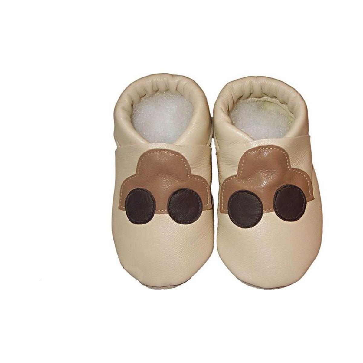 Chaussons bébé cuir beige