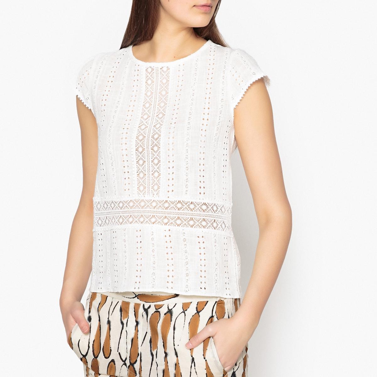 Блузка с кружевом и вышивкой JESSA блузка кружевная с короткими рукавами