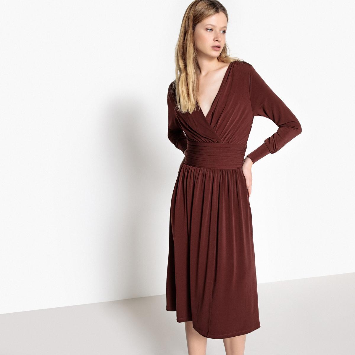 Платье-миди La Redoute В форме каш-кер пояс со складками застежка на молнию сбоку S каштановый пижама каш кер