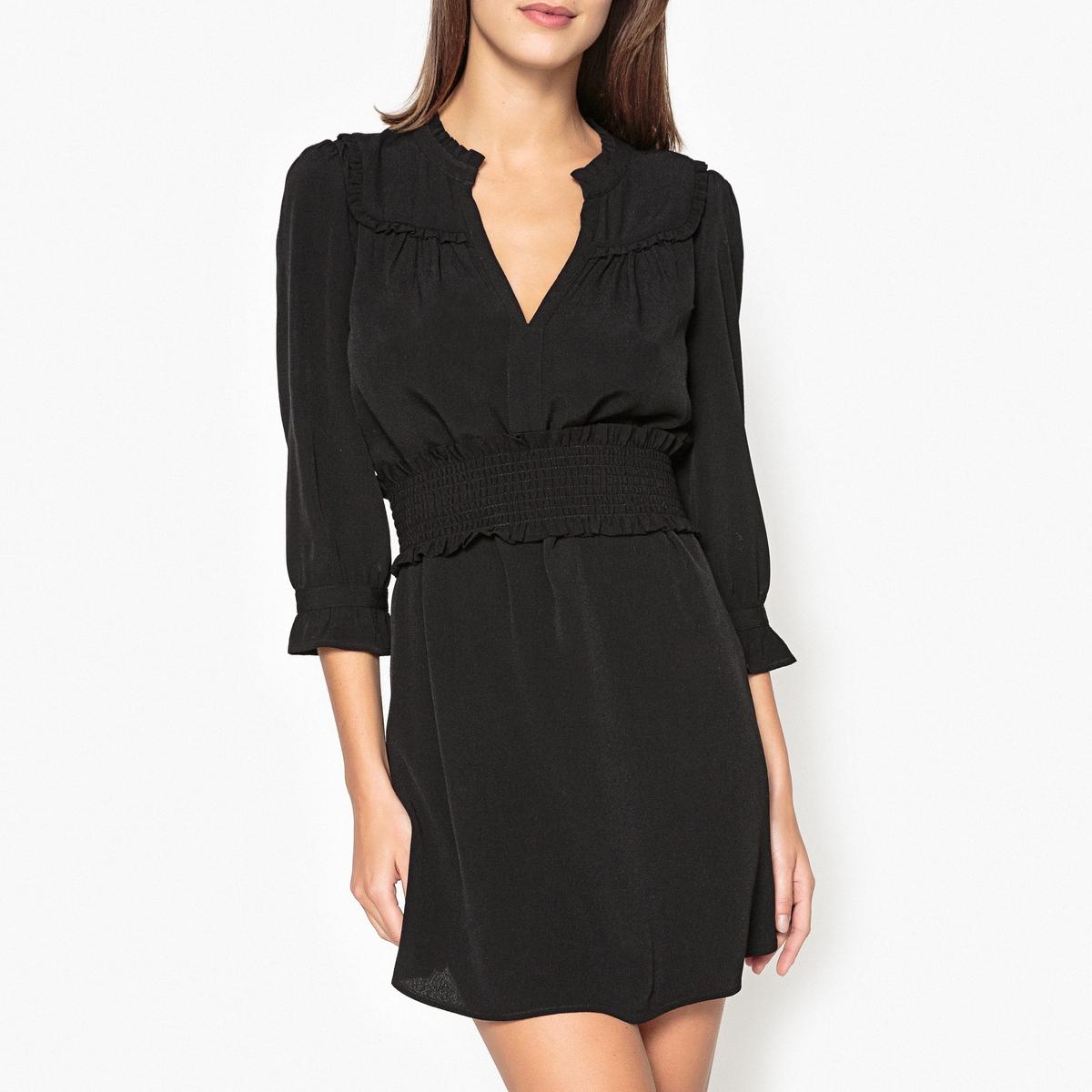 Платье с длинными рукавами TRACKОписание:Платье с длинными рукавами BA&amp;SH - модель TRACK. Воланы на вырезе. Съемный пояс, широкая модель бандо со сборками. Манжеты с воланами и застежкой на пуговицы.Детали •  Форма : расклешенная •  Укороченная модель •  Длинные рукава    •   V-образный вырезСостав и уход •  100% вискоза •  Следуйте советам по уходу, указанным на этикетке •  Длина : ок. 88 см. для размера 36<br><br>Цвет: красный,черный