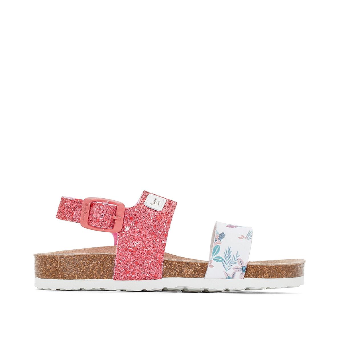 Сандалии  Bio FlowerВерх : кожа   Подкладка : без подкладки   Стелька : кожа   Подошва : каучук    Застежка : пряжка<br><br>Цвет: розовый/ белый,сине-серый<br>Размер: 35.38.38
