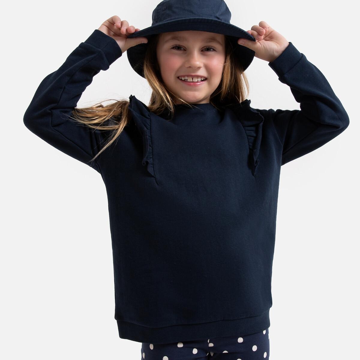 Свитшот LaRedoute С круглым вырезом и воланами на плечах 3-12 лет 8 лет - 126 см синий платье la redoute расклешенное на тонких бретелях с рисунком 3 12 лет 8 лет 126 см розовый