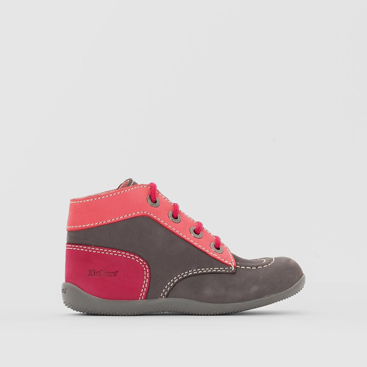 Ботинки BONBONМатериал внешний/внутрений : Нубук    Подкладка : Неотделанная кожаСтелька: Неотделанная кожаПодошва: КаучукВысота каблука: 5 смФорма каблука : Плоский каблук   Мысок : ЗакругленныйЗастежка : Шнуровка<br><br>Цвет: серый/ розовый